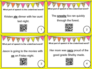 Parts of Speech QR Code Task Cards