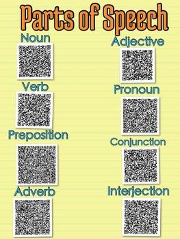 Parts of Speech QR code chart