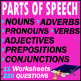 Parts of Speech Question Pack   11 Tests   220 Questions  