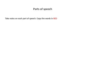 Parts of Speech Quick Lesson with student activities