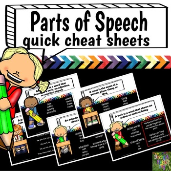 Parts of Speech Quick Reference Cheat Sheets (mini posters)