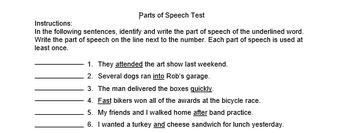 Parts of Speech Quiz