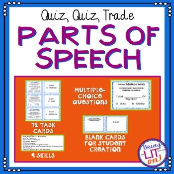 Parts of Speech Quiz-Quiz-Trade Cards