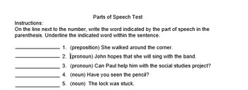 Parts of Speech Quiz and Answer Key