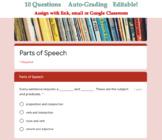 Parts of Speech Quiz for Google Classroom (Auto Grading) -