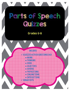 Parts of Speech Quizzes