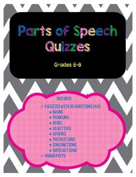 Parts of Speech Quizzes