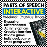 Parts of Speech Races: Interactive Notebook Writing Activities (Editable)