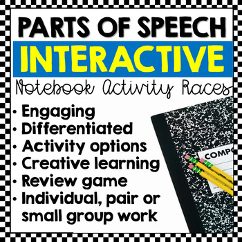 Parts of Speech Races: Interactive Notebook Writing Activities (Editable)
