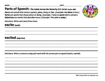 The Castle Across the Street: Parts of Speech & Reading Response