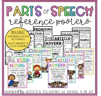Parts of Speech Reference Posters (B+W & Color!)