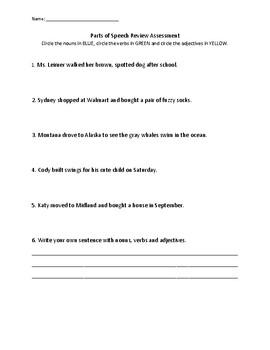 Parts of Speech Review Assessment