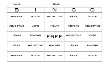 Parts of Speech Review, Bingo Powerpoint, and Bingo Cards
