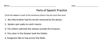 Parts of Speech Review Game - Scattagories