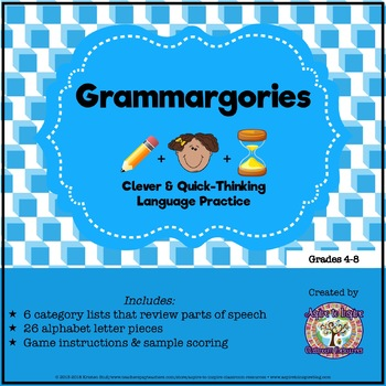 FREEBIE Parts of Speech Review: Grammargories Activity