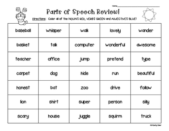 Parts of Speech Review Packet--2 sheets--Cut and Paste Sort and Color Sort