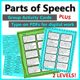 Parts of Speech - Activity / Revision Cards