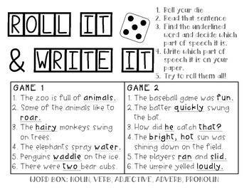 Parts of Speech Roll It, Write It