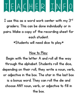 Parts of Speech Dice Game