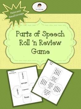 Parts of Speech Roll n' Review Game for Pairs or Small Groups
