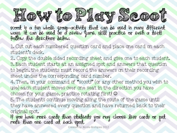 Parts of Speech SCOOT! Game, Task Cards or Assessment