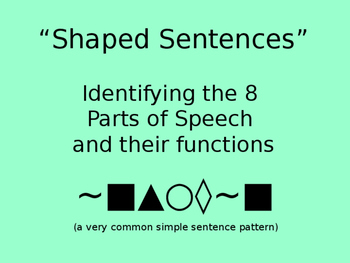 Parts of Speech --SHAPED Sentences