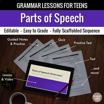 Parts of Speech: Scaffolded Grammar Lesson, Quiz, & Test Set for Teens