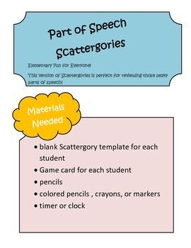 Parts of Speech Scattergories Game ~ Nouns, Verbs, Adjectives, Adverbs ~