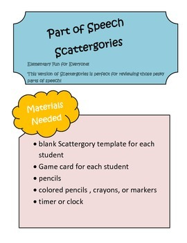 Parts of Speech Scattergories Game ~ Nouns, Verbs, Adjecti