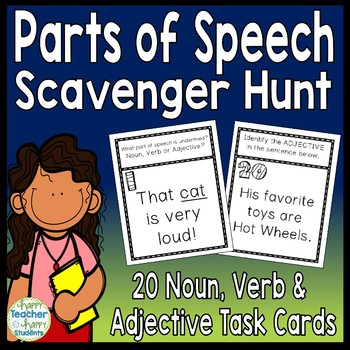 Parts of Speech Scavenger Hunt Activity: 20 Noun, Verb and Adjective Task Cards