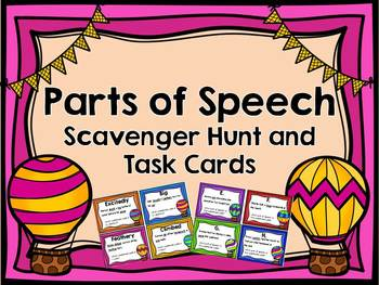 Parts of Speech Scavenger Hunt and Task Cards