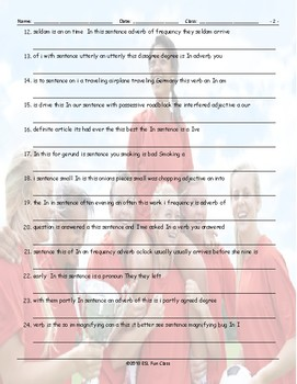 Parts of Speech Scrambled Sentences Worksheet