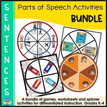 Parts of Speech Sentence Games Bundle- Nouns, Verbs, Adjectives and Adverbs