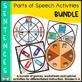 Parts of Speech Sentence Activities Bundle with Nouns Verbs Adjectives Adverbs