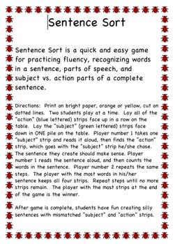 Parts of Speech Sentence Sort