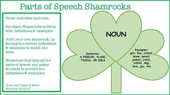 Parts of Speech Shamrocks