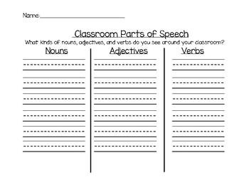 Parts of Speech Sort