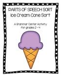 Parts of Speech Sort Grammar Ice Cream Center
