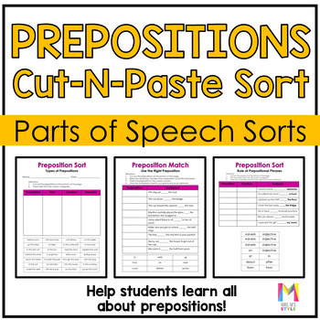 Parts of Speech Sort - Prepositions