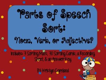 Parts of Speech Sorting Center (Nouns, Verbs, & Adjectives)