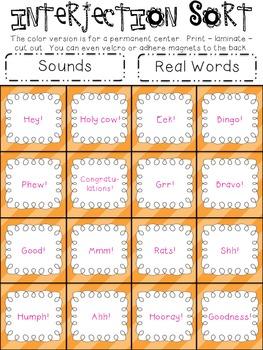 Parts of Speech Sorting {INTERJECTIONS: 5 sorting activities, tons of fun!}