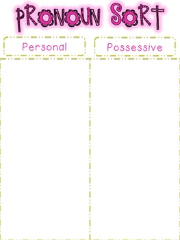 Parts of Speech Sorting {PRONOUNS: 5 sorting activities, tons of fun!}