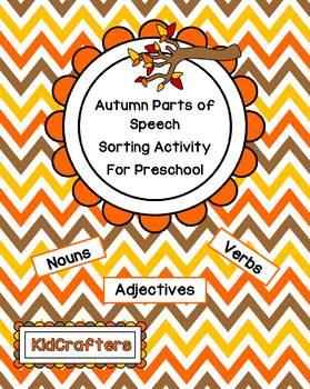 Autumn Parts of Speech Sorting for Preschool