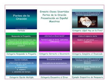 Parts of Speech Spanish PowerPoint Presentation
