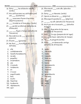 Parts of Speech Spanish Word Search Worksheet