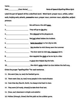 Parts of Speech & Spelling Killers Quiz