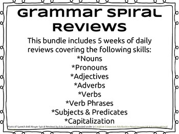 Parts of Speech Spiral Review (Bundle)