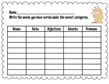 Parts of Speech Spring Word Sort Activity