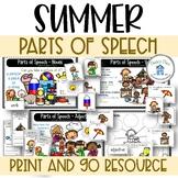 Parts of Speech Summer Theme Nouns Adjectives Verbs