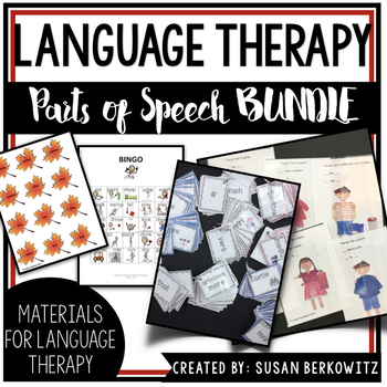 Parts of Speech Super Bundle of Activities Speech Therapy ELA Special Education
